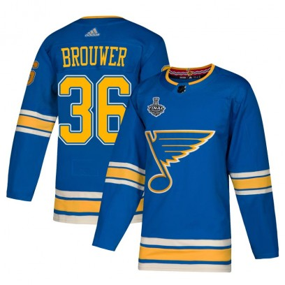 Men's Authentic St. Louis Blues Troy Brouwer Adidas Alternate 2019 Stanley Cup Final Bound Jersey - Blue