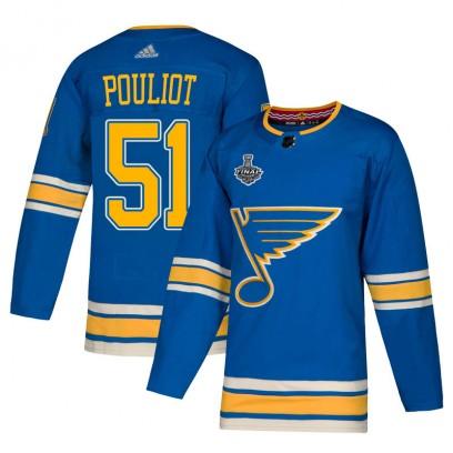 Men's Authentic St. Louis Blues Derrick Pouliot Adidas Alternate 2019 Stanley Cup Final Bound Jersey - Blue