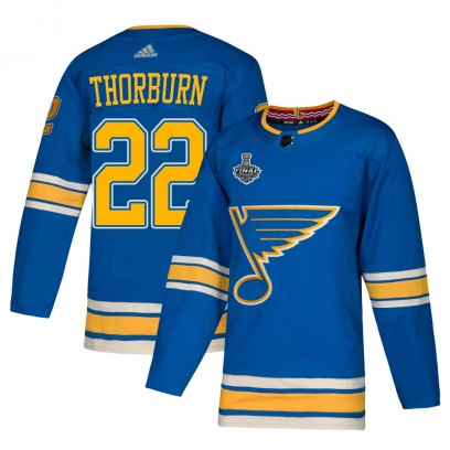 Men's Authentic St. Louis Blues Chris Thorburn Adidas Alternate 2019 Stanley Cup Final Bound Jersey - Blue