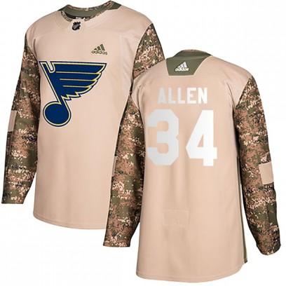 Men's Authentic St. Louis Blues Jake Allen Adidas Veterans Day Practice Jersey - Camo
