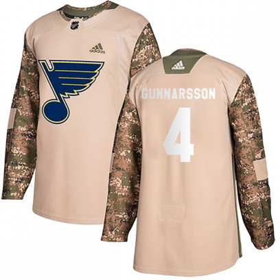 Men's Authentic St. Louis Blues Carl Gunnarsson Adidas Veterans Day Practice Jersey - Camo