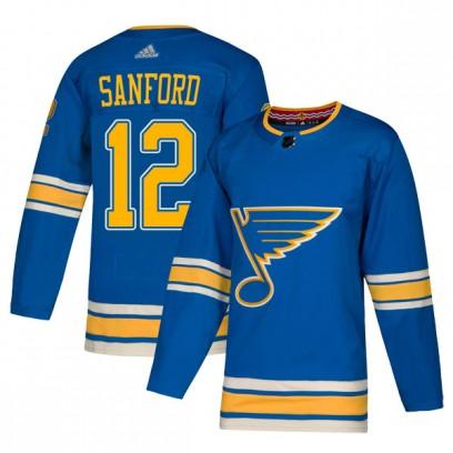 Men's Authentic St. Louis Blues Zach Sanford Adidas Alternate Jersey - Blue
