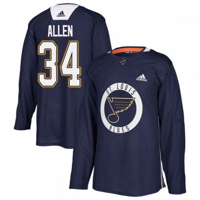 Youth Authentic St. Louis Blues Jake Allen Adidas Practice Jersey - Blue
