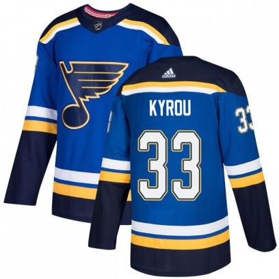 Men's Authentic St. Louis Blues Jordan Kyrou Adidas Home Jersey - Blue