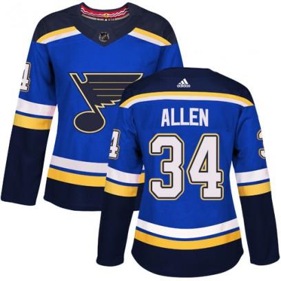 Women's Authentic St. Louis Blues Jake Allen Adidas Home Jersey - Royal Blue