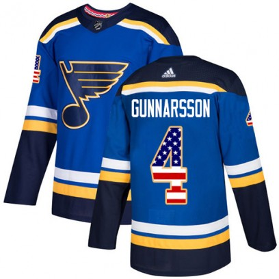 Youth Authentic St. Louis Blues Carl Gunnarsson Adidas USA Flag Fashion Jersey - Blue