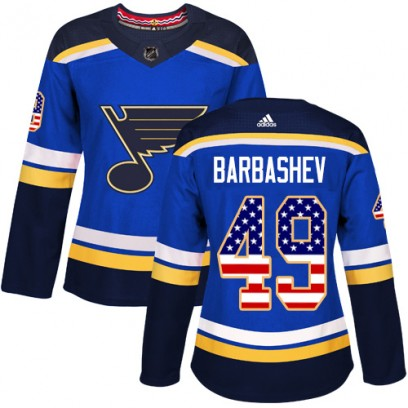 Women's Authentic St. Louis Blues Ivan Barbashev Adidas USA Flag Fashion Jersey - Blue