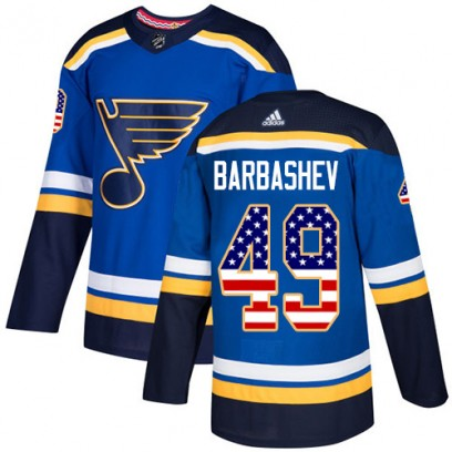 Youth Authentic St. Louis Blues Ivan Barbashev Adidas USA Flag Fashion Jersey - Blue